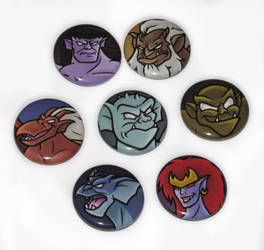 Gargoyles 1 inch Button Set by JellySoupStudios
