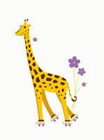 Funny giraffe roller skating by azzza