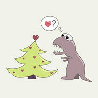 Dinosaur and Christmas tree by azzza