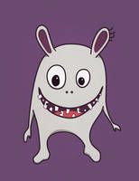 Funny Crazy Monster With Cracked Teeth by azzza