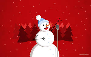 Happy Singing Snowman Christmas Wallpaper by azzza