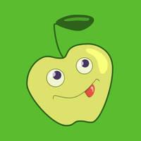 Cute Cartoon Green Apple by azzza