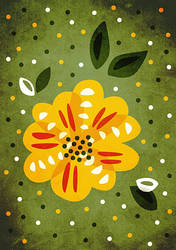 Pretty Abstract Yellow Primrose Flower by azzza