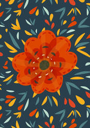 Decorative whimsical orange flower by azzza