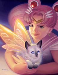 Chibi Moon with Fairy Kitten by AlanGutierrezArt