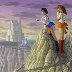 Sailor Sun and Sailor Mercury by AlanGutierrezArt