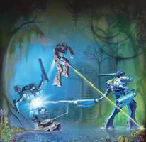 Battledroid Swamp Battle by AlanGutierrezArt