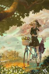Little Girl Picking Flowers by webang111