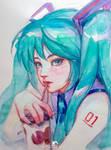 Watercolor 2015#027 Miku by webang111