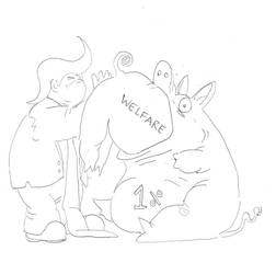 A Pig feeding a Pig to a Pig. by Daniels-Sketches