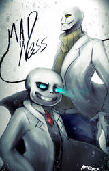 Mad Gaster and Mad sans by MEGA1126