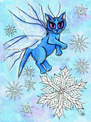 Winter Snowflake Cat Fairy by tigerpixieart