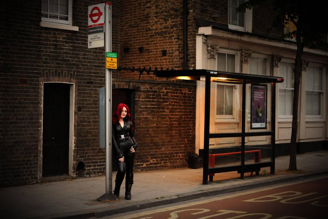 London Bus stop - Black Widow cosplay by idrilkeeps