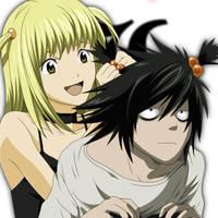 L and Misa by WolfDarkLuna