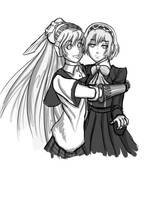 aigis and labrys doodle by dudeunderscore