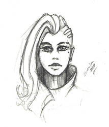 Sombra quick pencil sketch by Nyradir