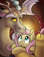 Fluttershy and DIscord by AnnaKitsun3