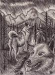 Elkhounds (Charcoal) by daviddekleer