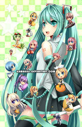 Vocaloid: Chibi Food Party by Kamaniki