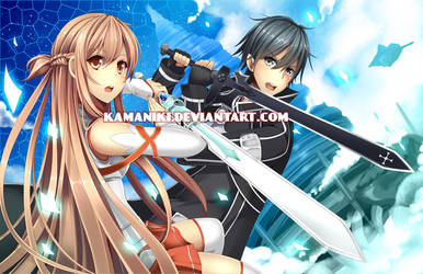 Sword Art Online: Asuna and Kirito by Kamaniki
