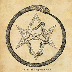 Ouroboros and unicursal hexagram by KainMorgenmeer