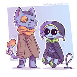 Jevil and Seam (chibis) by NoriTheLord