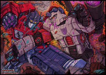 Optimus vs Megatron by grifth