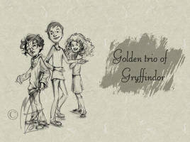 Golden Trio of Gryffindor by MariliaZo
