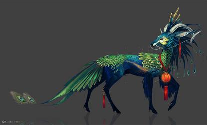 Green Peacock Kirin by NukeRooster