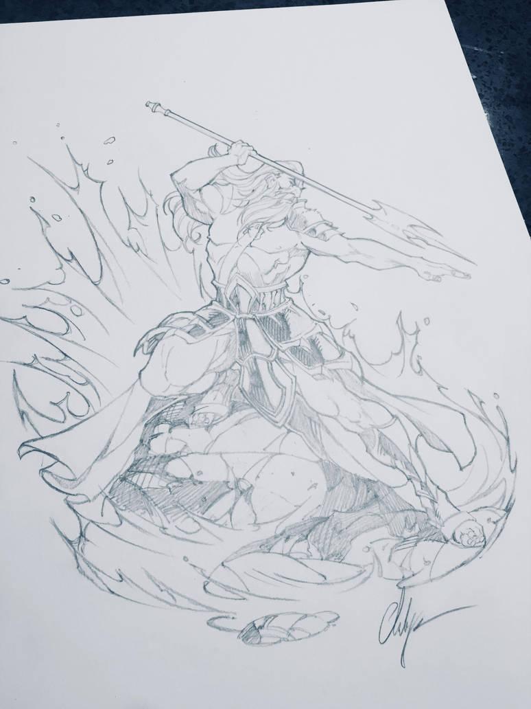 Poseidon drawing by ChuckARTT
