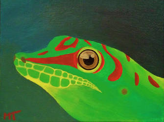 Day Gecko painting by icedragonsheart