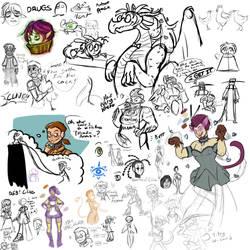 BattleCON: Sketchdump of Indines by Kitty-Katskratch