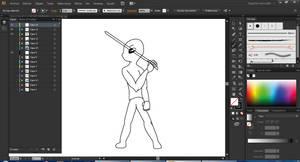 Fullbody Sword pose - Progressive by Vandagen