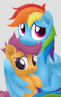 Photograph - Rainbow Dash and Scootaloo by SymbianL