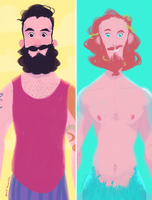 Jolly Sailor and Merman by matthoworth
