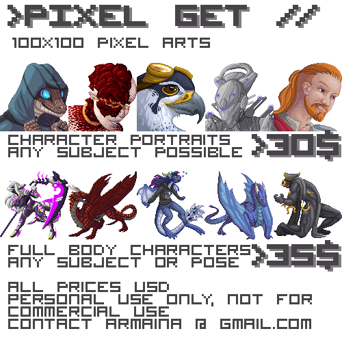 Pixel Commissions 2018 by armaina