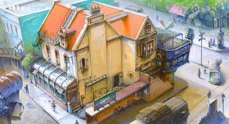 Town Design - Grandpa's bookstore by alantsuei