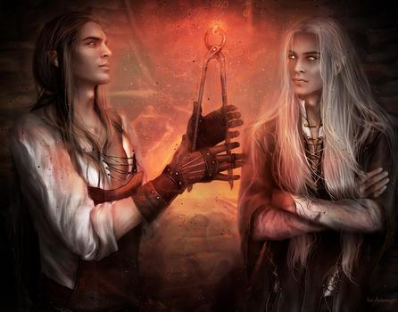 Sau and Celebrimbor by Kaprriss