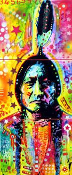 Sitting Bull 3-Panel by deanrussoart