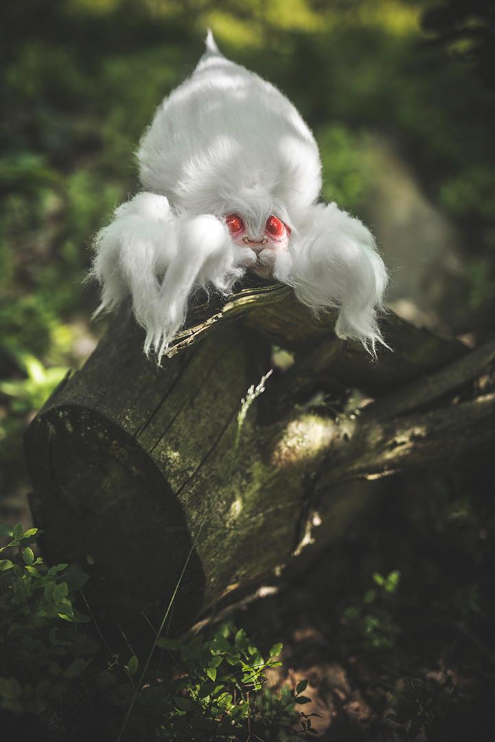 Giant Albino Cotton-Candy Spider by katyushka-dolls