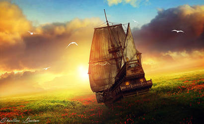 Fantasy ship by CharllieeArts