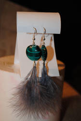 Feather earrings- gray by StarbitJewels