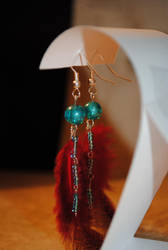 Feather earrings- red by StarbitJewels