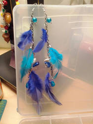 Feather earrings- blue by StarbitJewels
