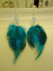 Feather earrings- teal by StarbitJewels