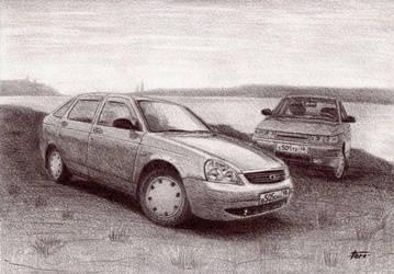 lada 2112 and priora by ArtemkA-18RUS