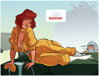 April O'Neil - Waxing - Cartoon Pinup Commission by HugoTendaz