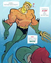 Aquaman and Ariel - Cartoon PinUp by HugoTendaz