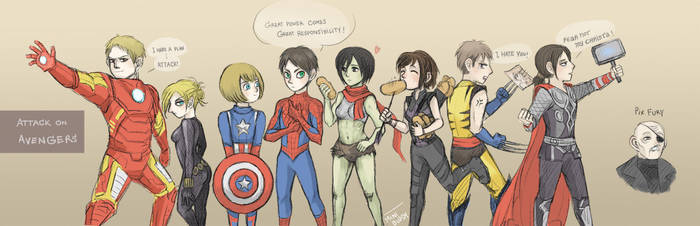 Attack on Avengers [ Attack on titan ] 104th Gang by minibuddy