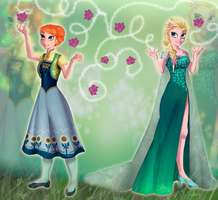 Anna and Elsa Frozen Fever by JeyraBlue